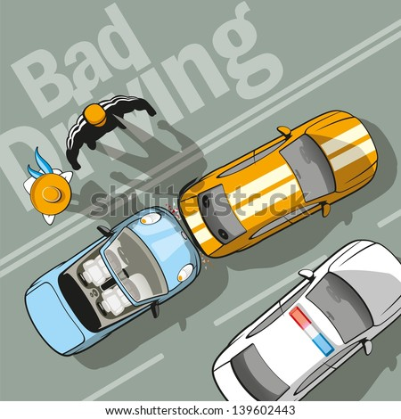 Bad driving. The driver, who was driving behind, had no time to brake. - stock vector