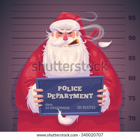 Bad Santa in police department. Christmas greeting card background poster. Vector illustration. Merry christmas and Happy new year. - stock vector