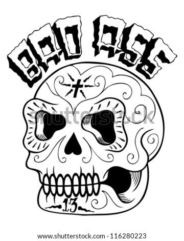 bad sugar skull vector - stock vector