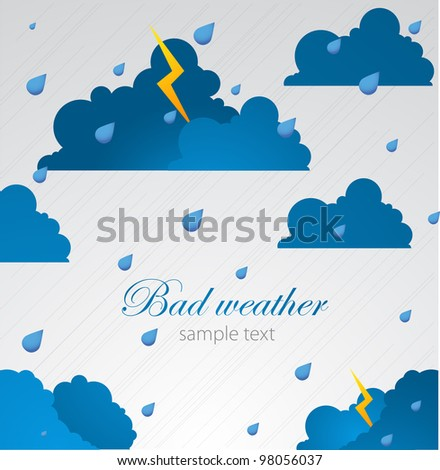 Bad weather background. sky with clouds and lightnings - stock vector
