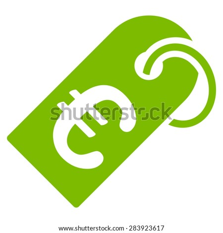 Badge from BiColor Euro Banking Icon Set. Vector style: flat, eco green symbol, rounded angles, white background. - stock vector