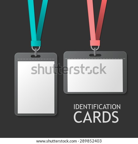 Badge Identification White Blank Plastic Id Cards Set. Isolated On Grey Background For Design And Branding. Vector Template For Name Tag With Lanyard. - stock vector