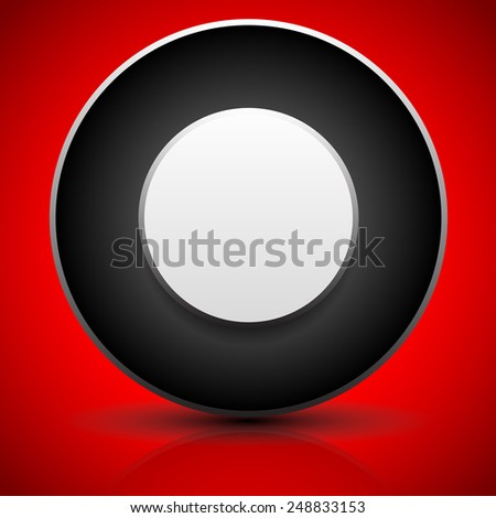 Badge or generic circular element. Fine shadow and reflection, over bright red - stock vector