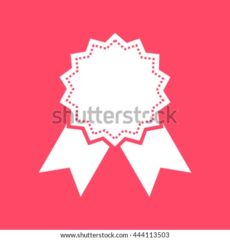 Badge white icon on magenta color background.. Eps-10. - stock vector