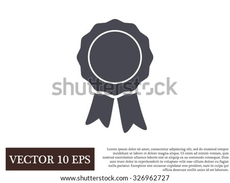 badge with ribbons icon - stock vector