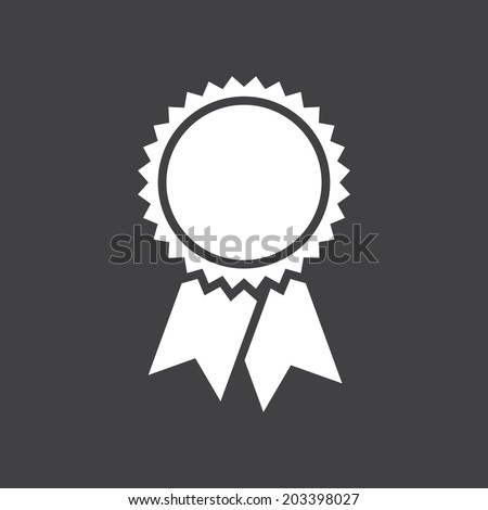 Badge with ribbons icon, vector illustration, simple flat design - stock vector