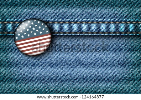 Badge with the American flag on the jeans texture - stock vector
