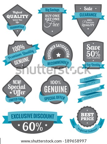 Badges and Ribbons Turquoise Two - stock vector