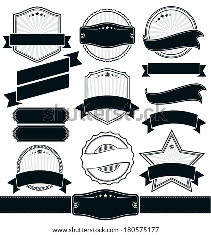 Badges and Ribbons Vector Set - stock vector