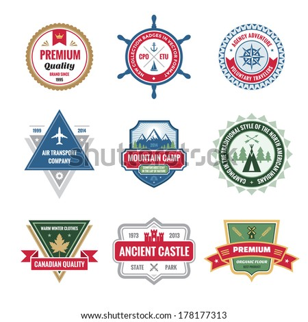 Badges Collection in Vector Format for Different Design Works. Vector logo template. - stock vector