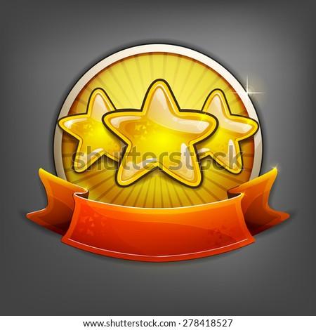 Badges of gold stars. Vector illustration. - stock vector