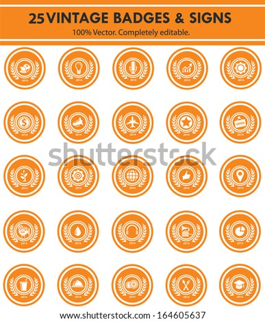 Badges & Sign,Collection of Premium Quality and Guarantee Labels,orange version - stock vector