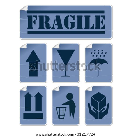 Badly glued stickers, transportation symbols set in blue tones, isolated and grouped objects against white background - stock vector