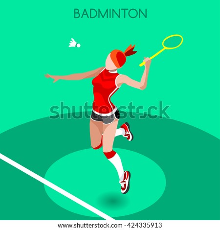 Badminton Player 2016 Summer Games Icon Set. 3D Isometric Badminton Player. Sporting Championship International Badminton Match Competition. Sport Infographic olympics Badminton Vector Illustration. - stock vector