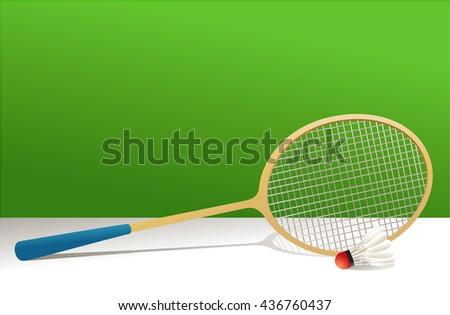 Badminton rocket and shuttlecock - stock vector
