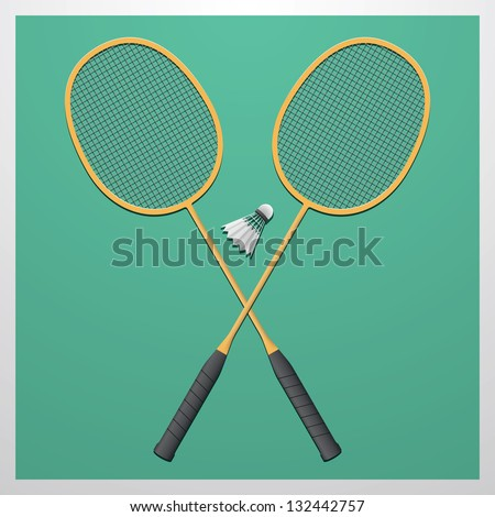 Badminton set. Classic wooden racquets (rackets) and a shuttlecock. - stock vector
