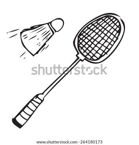 Badminton Set Doodle - stock vector