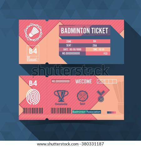 Badminton Ticket Material Design. Vector illustration - stock vector