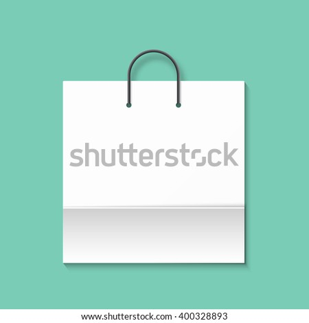 Bag isolated on a green background. Green paper bag. Shopping bag. Bags for boutiques. - stock vector