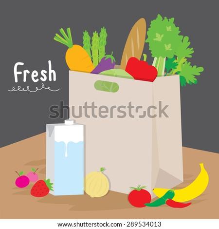 Bag Market Fruit Vegetable Cook Cartoon Vector - stock vector