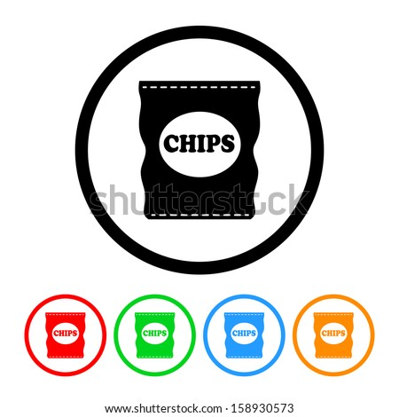 Bag of Potato Chips Icon with Color Variations - stock vector
