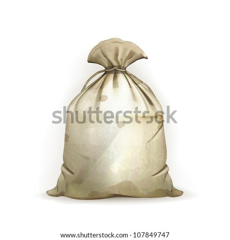 Bag, old-style vector isolated - stock vector