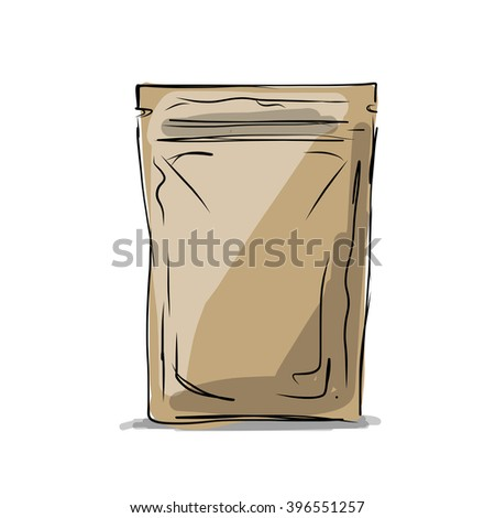 Bag packaging, sketch for your design - stock vector