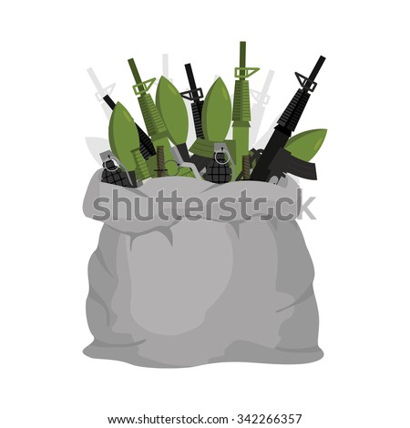 Bag weapon. Ammo in large gray bag. Assault rifles and grenade launchers. Reserve for  military. Knives and grenades. Soldier's Arsenal in  burlap bag.