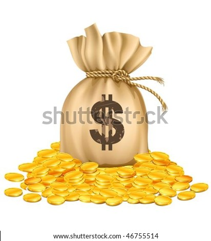 bag with dollars money on pile of golden coins - vector illustration, isolated on white background - stock vector