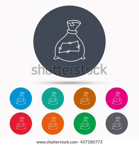 Bag with fertilizer icon. Fertilization sack sign. Farming or agriculture symbol. Icons in colour circle buttons. Vector - stock vector