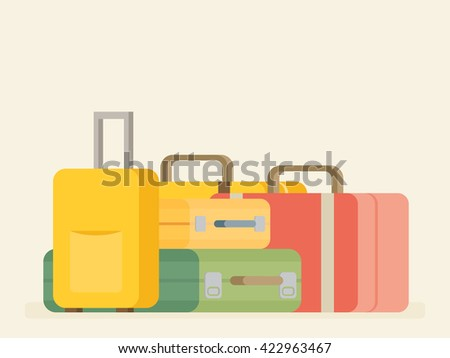 Baggage, luggage, suitcases on background. Flat style vector illustration. - stock vector
