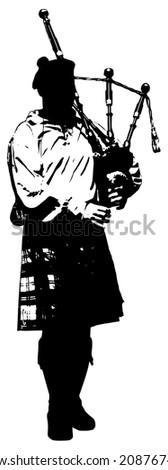 Bagpiper Black and white illustration - stock vector
