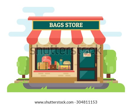 Bags and suitcases store or boutique. Facade store with sunshade. Vector flat design illustration - stock vector