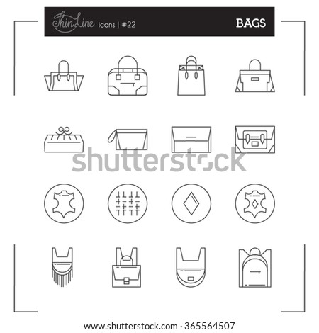 Bags icons. Women Bags icons, bags shop icons. Icons design for web and mobile app e-commerce. - stock vector