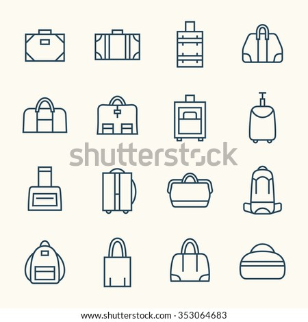 Bags line icon set - stock vector