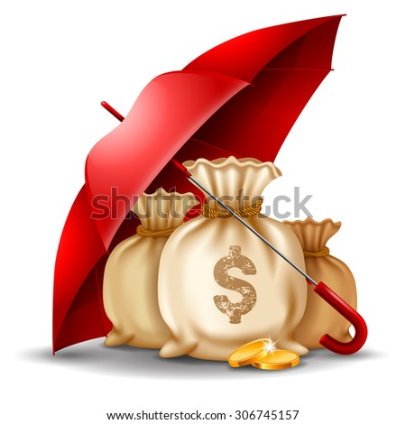 Bags of money and golden coins under the red umbrella. Concept of money protect. Vector illustration. Isolated on white background. - stock vector