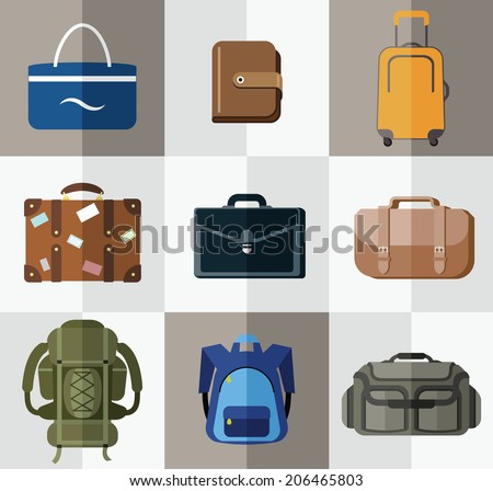 Bags, suitcases, backpacks. Bags for travel, business, school, hiking and beach. - stock vector