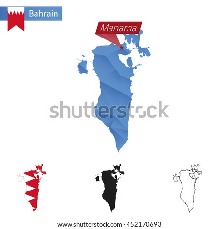 Bahrain blue Low Poly map with capital Manama, versions with flag, black and outline. Vector Illustration. - stock vector