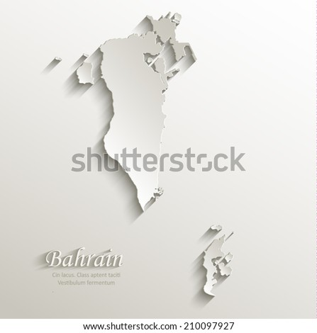 Bahrain Map Vector Bahrain Map Card Paper 3d