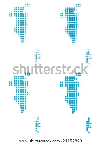 Bahrain map mosaic set. Isolated on white background. - stock vector