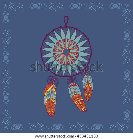 Baikal dream catcher illustration in doodle style. Vector monochrome sketches with geometric pattern in bright colors. - stock vector