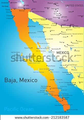 baja california vector color map  - stock vector