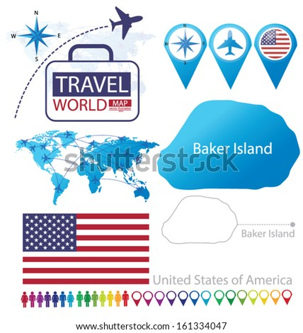 Baker Island. United States of America. flag. World Map. Travel vector Illustration. - stock vector