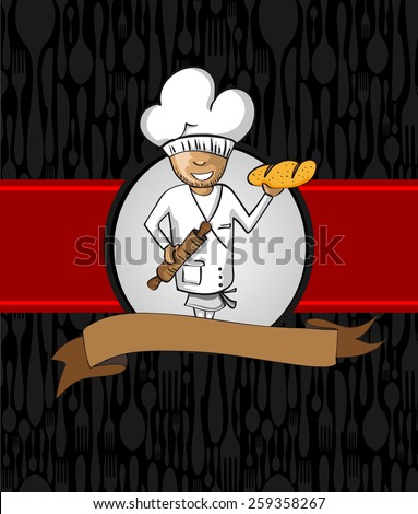 Baker master chef cartoon. Hand drawn illustration for menu design. Vector file organized in layers for easy editing. - stock vector