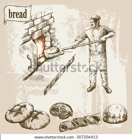 baker prepares bread in a stone oven vector illustration - stock vector