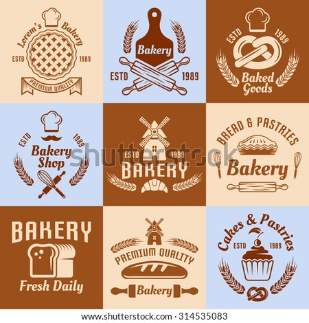Bakery and pastries set of vector vintage colored labels, badges, emblems and logos - stock vector