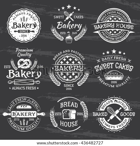 Bakery and pastries set of vintage vector white emblems, labels, badges and design elements isolated on dark chalkboard with removable grunge texture - stock vector
