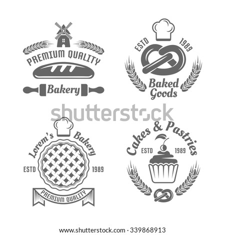 Bakery and pastries vector black labels, badges, emblems and logos isolated on white background - stock vector