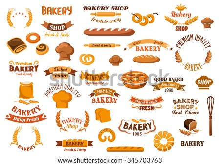 Bakery and pastry design elements with assorted kinds of breads and sweet buns, pie, pretzels, bagels, baker hats,  flour and wheat ears, whisk, rolling pins and ribbon banners with headers - stock vector