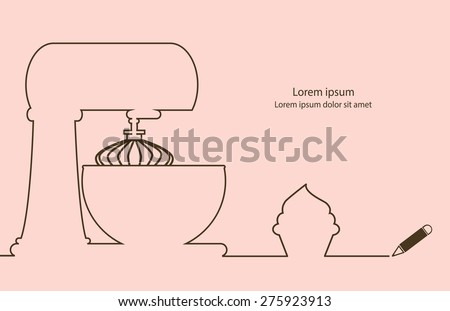 Bakery cake mix and cup cake line drawing design vector. - stock vector